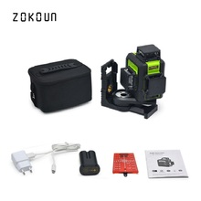 ZOKOUN Red 12 Lines 3D Self-Leveling Laser Level 360 Horizontal Vertical cross Laser mode tool and 5200mah Li-ion battery цены онлайн