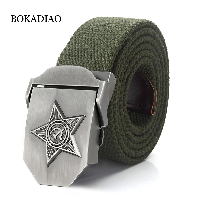 BOKADIAO Men&Women Canvas Belt Luxury CCCP 3D Five Rays Star Metal Buckle Jeans Belt Army Tactical Belts For Male Military Strap