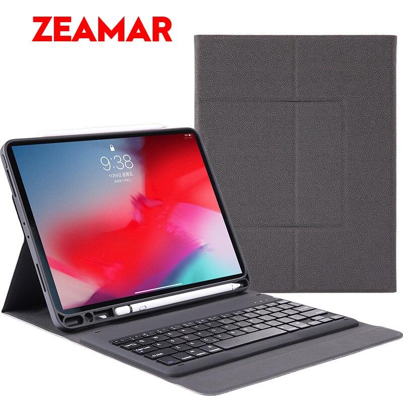 Luxury Bluetooth Keyboard Pen Slot Case For iPad Pro 12 9 inch Wireless PU Leather intelligent