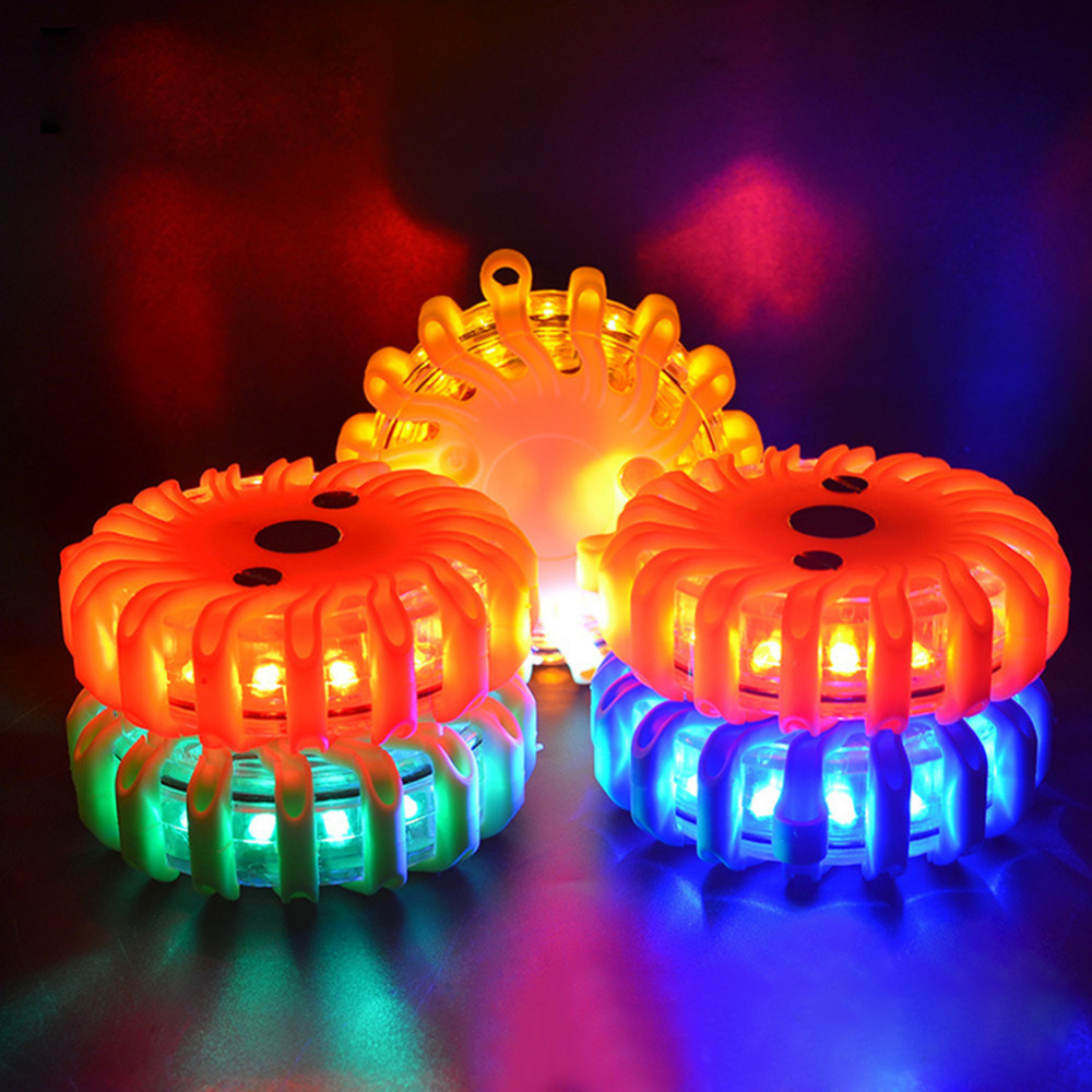 LED Road Safety Rechargeable Flashing Road Beacon Warning Light Disc Roadside LED Emergency Flares For Car Marine Truck Boat