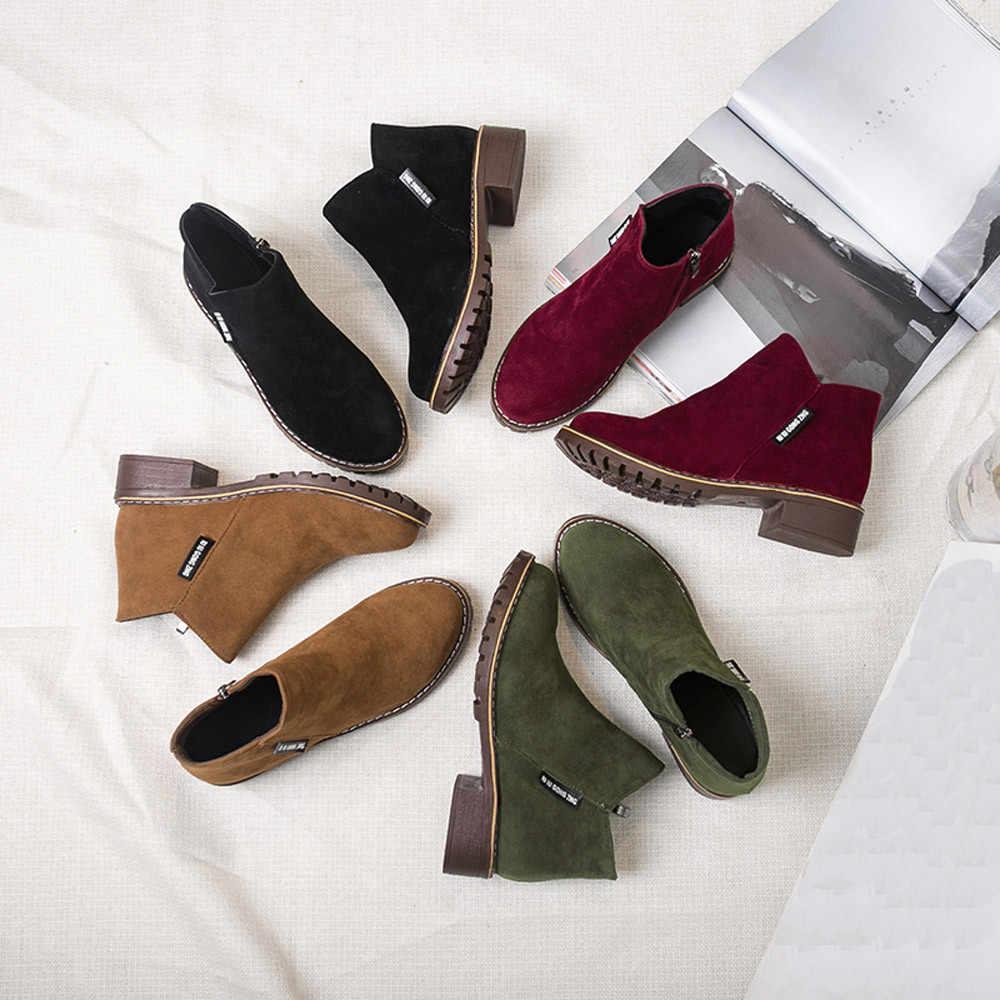 รองเท้าบูทสั้นผู้หญิงผู้หญิงแฟชั่นข้อเท้าสั้นรองเท้าหนังรองเท้าผ้าใบรองเท้าสตรีฤดูหนาวรองเท้า FLOCK WARM รองเท้า feminina Salto