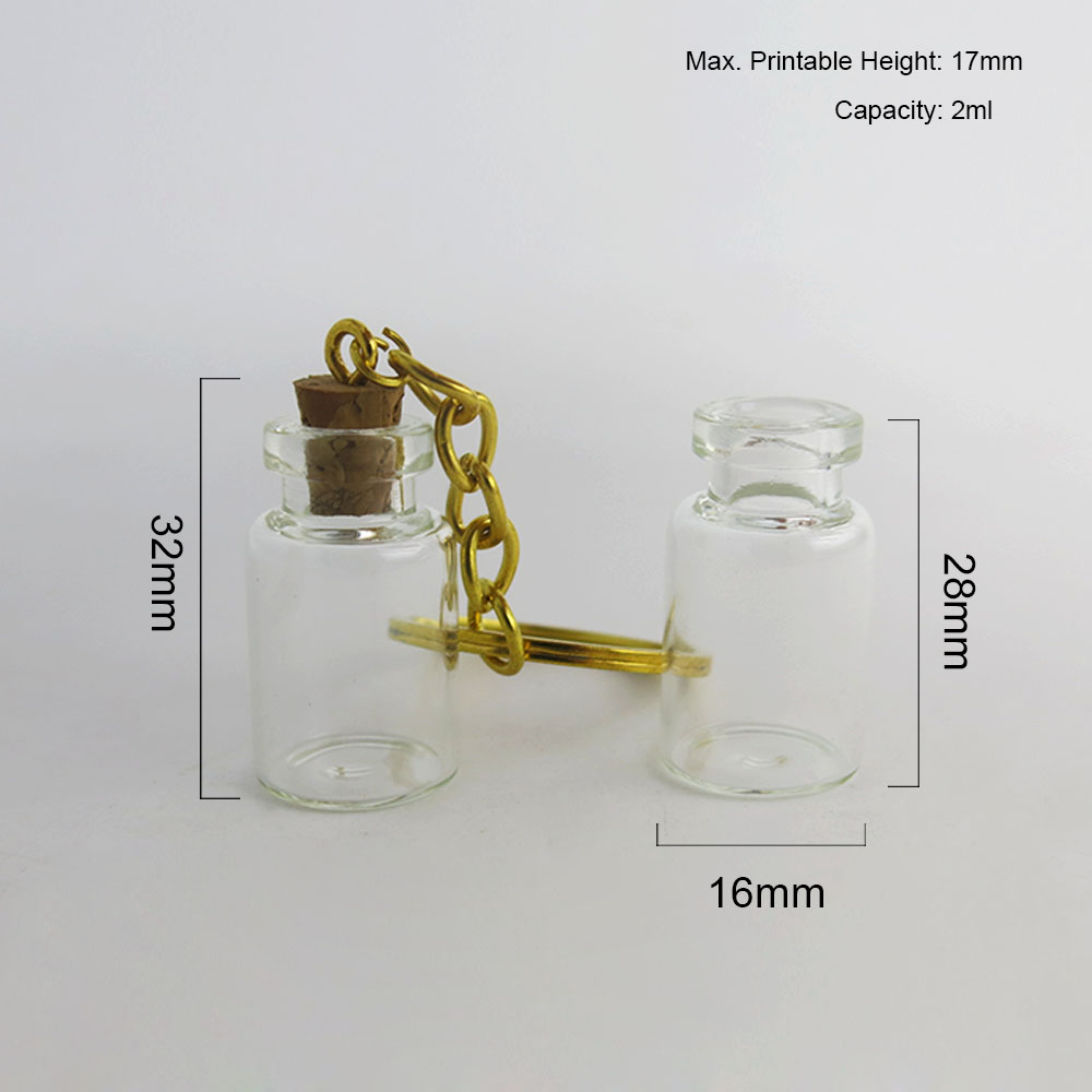 Купить с кэшбэком 30 x 2ml Clear Cute Mini Small Glass Bottle Cork Pendant Vial Key Chain Adjustable For Wedding Gift Using Beautiful for Women