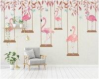 Beibehang Modern Classic Silk Cloth Papel De Parede Wallpaper Simple Cartoon Flamingo Personality Children Room Wall