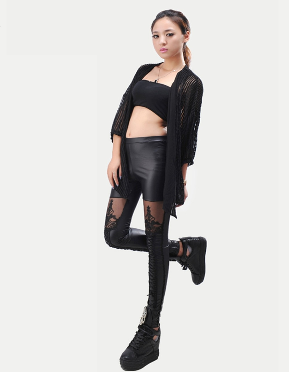 Black Legins Punk Gothic Fashion Women Leggings Sexy PU Leather Stitching Embroidery Hollow Lace Legging For Women Leggins 15 9