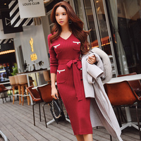 Dabuwawa Knitted Dress Winter 2018 New V neck Office Lady Elegant Solid Slim Sashes Sexy Dress