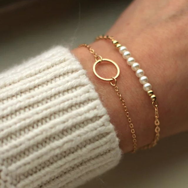 Gold Circle Bracelet Handmade jewelry Personalized 14 Gold Filled Vintage Customed Tobilleras Pulsera Para Tobillo Bangles