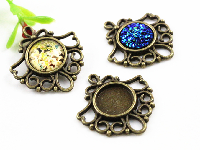 12pcs 12mm Inner Size Bronze Colors Fashion Style Cabochon Base Cameo Setting Charms Pendant (A1-34)