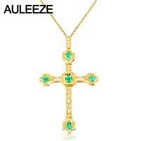 Vintage Cross Natural Emerald Diamond Pendant 18K Yellow Gold Handmade Cross Real Diamond Pendant Necklace Diamond