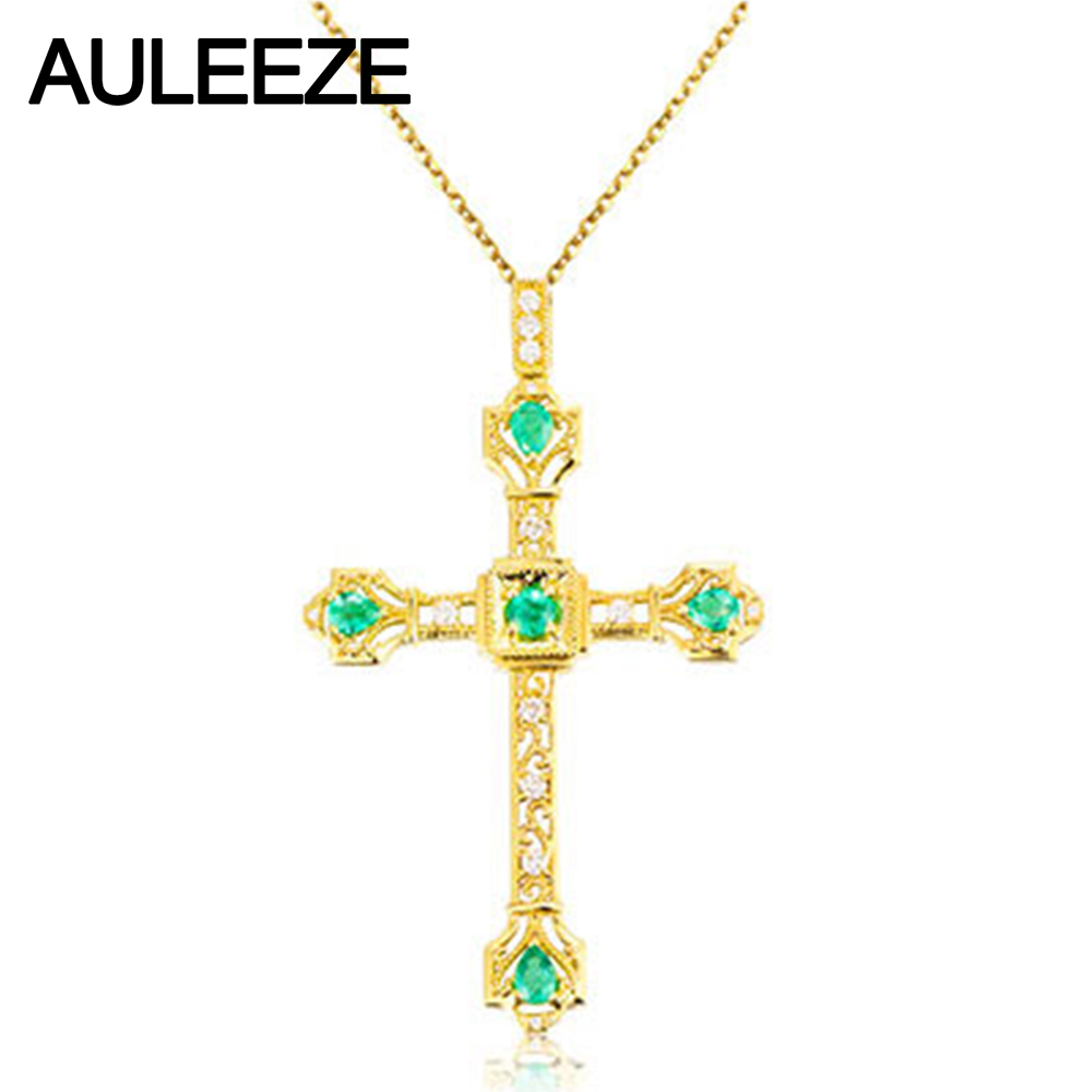 Real Gold Diamond Cross Necklace