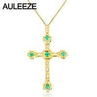 Vintage Cross Natural Emerald Diamond Pendant 18K Yellow Gold Handmade Cross Real Diamond Pendant Necklace Diamond Fine Jewelry
