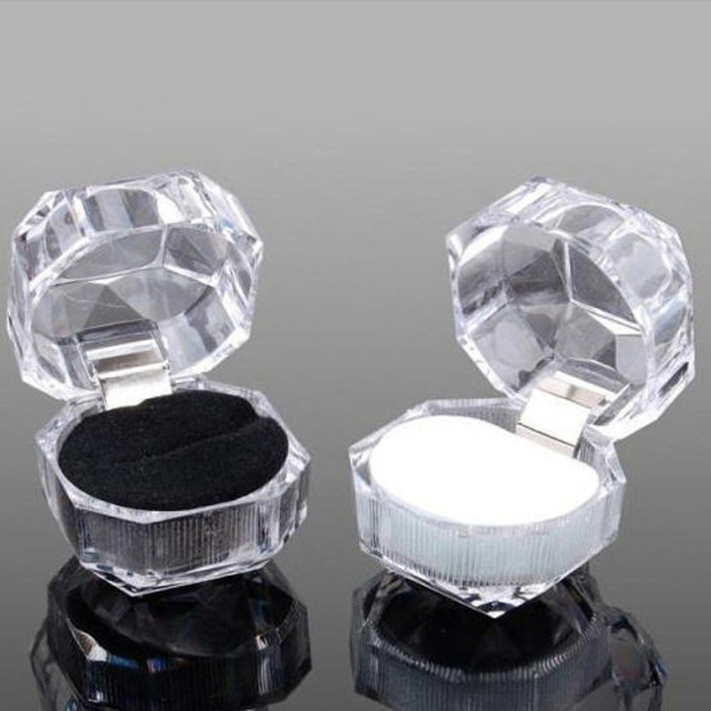 Free Shipping 20pcs/lot Hot Sale Jewelry Package Ring Earring Box Acrylic Transparent Wedding Packaging Jewelry Box
