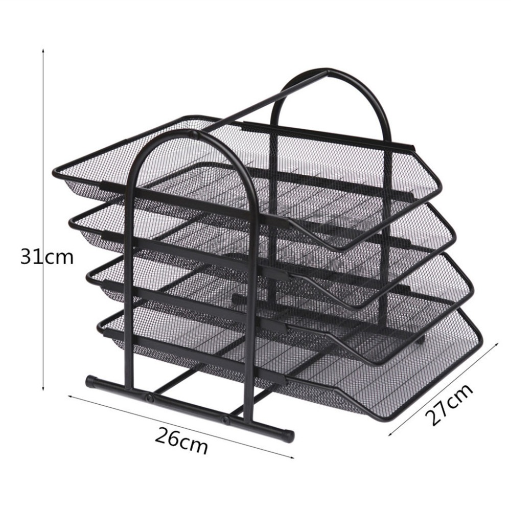 4-Tier File Rack Metal Mesh Letter Tray Scratch-Resistant Stackable Office A4 Paper Organizer Document File Holder U17@Z (5)