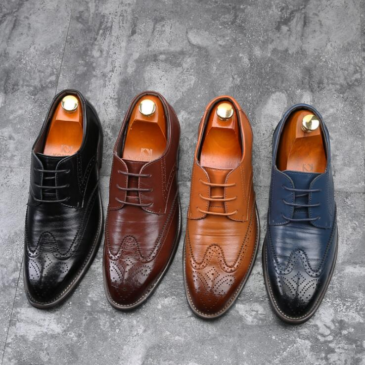 Fashion New Mens Dress Shoes Bussiness Party Oxfords Lace Up Wedding Brogue Shoes Vintage Man Big Over Size 45 46 47 48  men0028