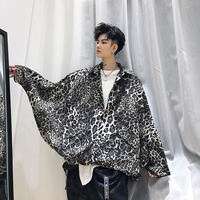 YASUGUOJI New 2019 Hip Pop Fashion Leopard Print Jacket Men Batwing Sleeve Loose Mens Jacket Streetwear Thin Men Jackets