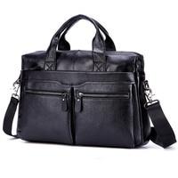 Black Men Genuine Leather Handbags Large Leather 15 Laptop Messenger Bags Business Men's Travel Bags Shoulder Bags Briefcase
