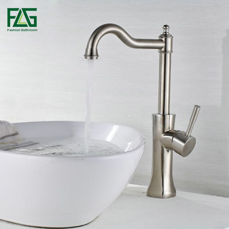 FLG Bath Mat Bathroom Faucet Brushed Nickel Deck Mounted 304 Stainless Steel Basin Faucet Bath Taps Cold & Hot Sink Taps SS011