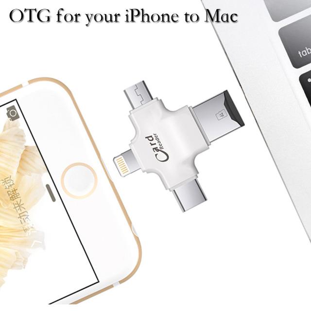 NOVO 4 em 1 OTG Inteligente Leitor de Cartão de Memória TF microSD adaptador para android ios Telefone Portátil-Tipo c Lighining USB-A USB-Micro OTG
