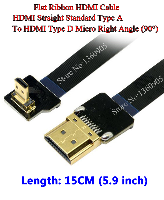 15CM 5.9'' Ultra Thin HDMI Male to Male HDMI Cable Ribbon Micro Type D to A Standard for GH4 GOPRO BMPCC A5000 A6000 A7R A7S