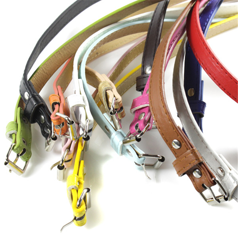 Multi Color Thin Skinny Faux Leather Waistband Casual Belts Strap Adjustable Belt For Women