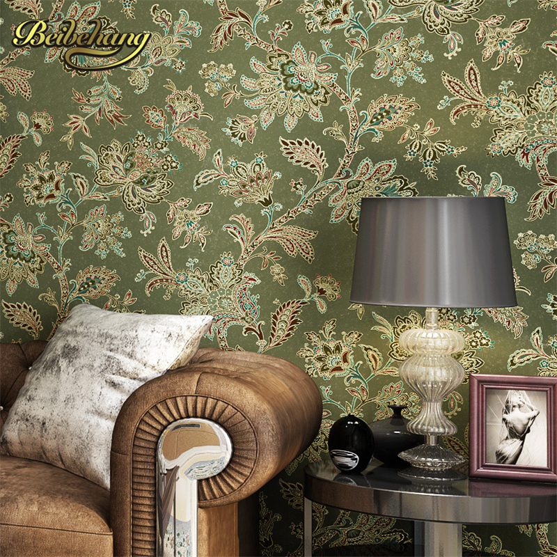 beibehang wall paper Puna American nonwoven bedroom living room TV background retro green flower wallpaper rural countryside