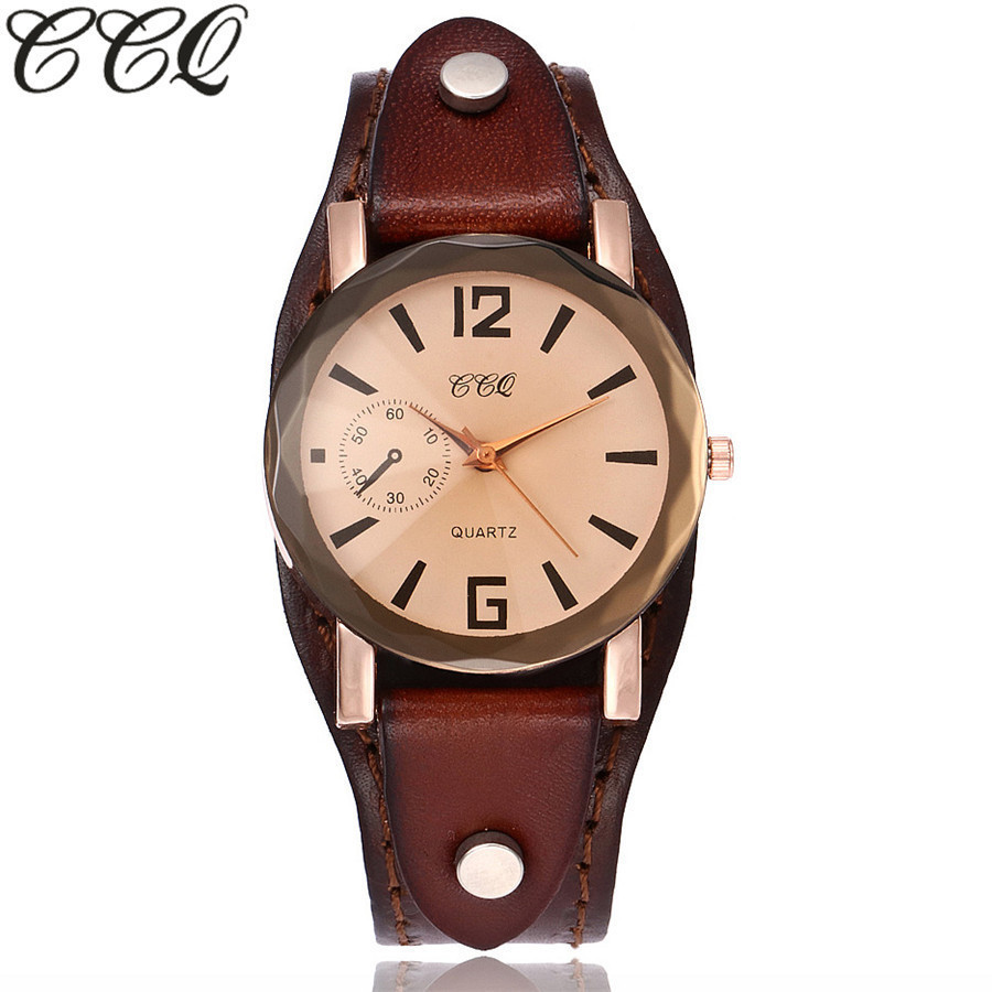 CCQ Brand Unisex Vintage Cow Leather Bracelet Watch Casual Simple Women Men Leather Quartz Wristwatches Clock Gift Montre Femme xiniu retro wood grain leather quartz watch women men dress wristwatches unisex clock retro relogios femininos chriamas gift 01