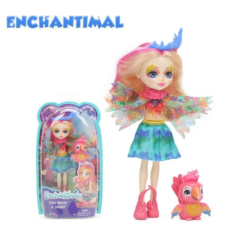 2018 15cm Enchantimals Dolls Toys Peeki Parrot Sheeny Hixby Hedgehog Pointer Cherish Cheetah Quick Dolphin Figure Model Doll