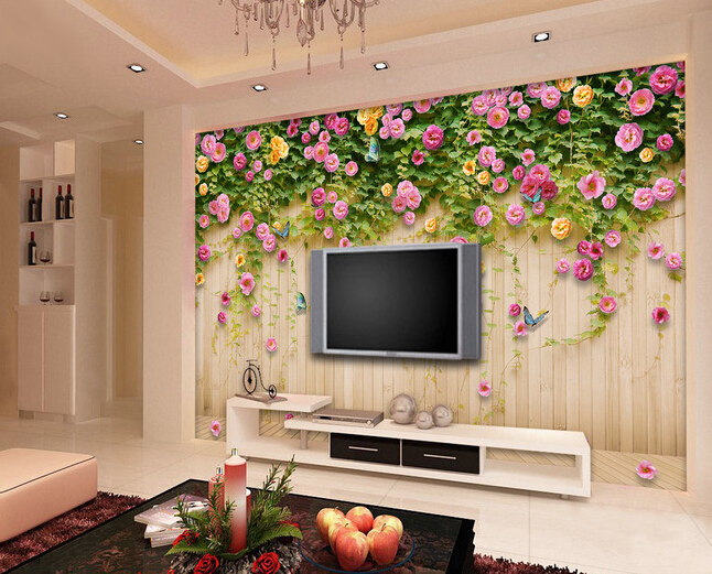 Custom papel DE parede 3 d, the rose flower on board for the living room bedroom TV background wall waterproof wallpaper custom flowers wallpaper 3d fashion rose simple mural for the living room bedroom tv background wall waterproof papel de parede
