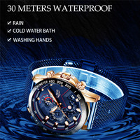 LIGE Blue Steel Mesh Belt 30M Waterproof Men Watch Top Brand Luxury Quartz Luminous Blue Dial Chronograph Date relogio masculino