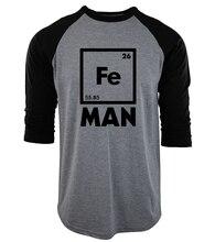 Iron Science three-quarter sleeve T Shirt Funny 2017 men cotton raglan camisetas Chemistry tee Shirt homme Fe Periodic Table top