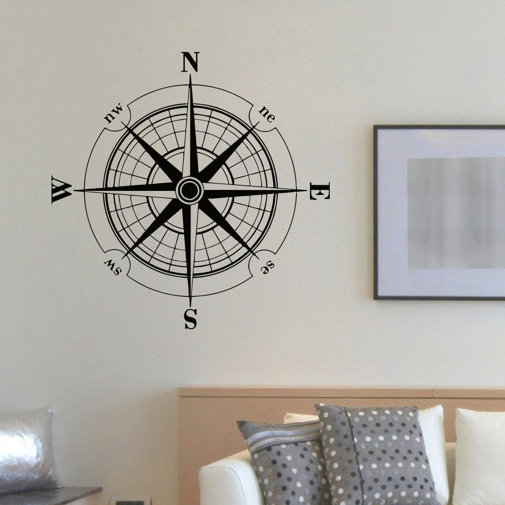 Vinyl Sticker Wind Rose Compass Wall Decal Removable