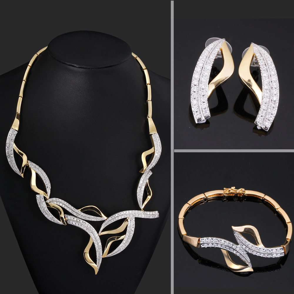 Fashion Dressing Aaa Cubic Zirconia Wedding Jewelry Sets White Gold And  Yellow Gold Color Cadmium Free