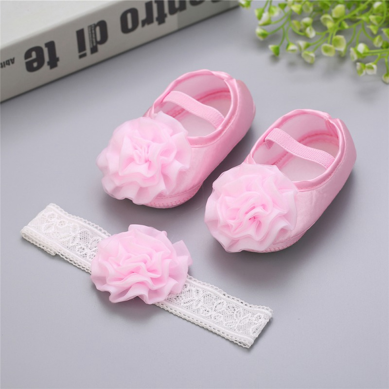 Baptism Baby Girl Sapato Bebe Menina Rosset Shoes 2pcs Set Rhinestone Flowers Headband Barefoot Spring Infant Baby Girl Shoes