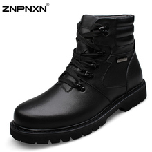 2015 New Big Size 48 Genuine Leather Winter Boots Men Snow Ankle Boots For Men Shoes Black Cowboy Boots Botas Masculina