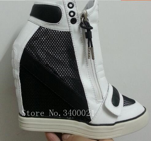 Newest Hook&Loop Mesh Height Increasing Shoes Woman Platform High Wedges Sneakers Zipper Up Leather Women's Casual Shoes Sapatos zapatillas deportivas mujer height increasing rhinestone hook loop platform casual shoes woman hidden heels wedges crystal shoes