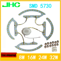 LED double color lamp SMD5730 8W*2, 16W*2, 24W*2, 32W*2 ,3000K, 4000K 6000K ceiling light panel lamp AC85 265V magnetic in 1 pcb