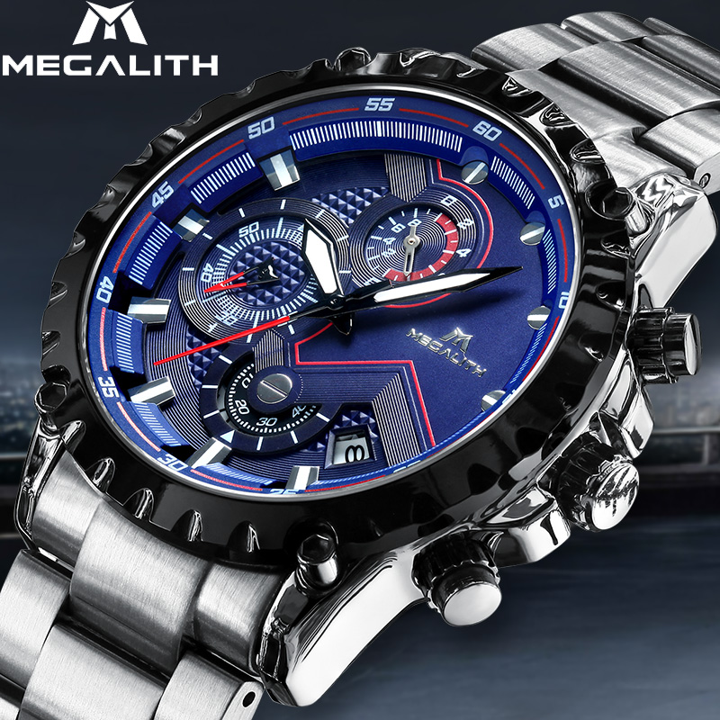 MEGALITH Mens Watch Fashion Waterproof Chronograph Date Business Analogue Watch Classic Stainless Steel Male Clock RelogioMEGALITH Mens Watch Fashion Waterproof Chronograph Date Business Analogue Watch Classic Stainless Steel Male Clock Relogio