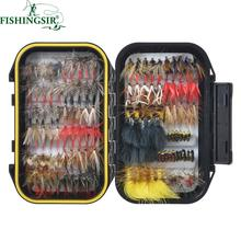 120PCS Fly Tying Material Fly Fishing Lure Dry/Wet Flies, Nymph Artificial Pesca Bait Lure for Pike Carp Winter Pesca Tackle Box