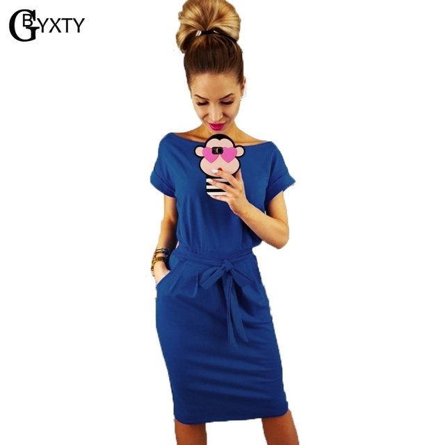af3e54df6409 GBYXTY Women Summer Casual Solid Short Sleeve Sashes Midi Length Dress  Ladies Workout Office Pencil Dress robe ete femme ZA542