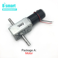 Bringsmart 5840 31zy Double Shaft Motor 24V DC Worm Geared Motor 4V DC Reducer Motors High Torque Reversed Self lock for Robot