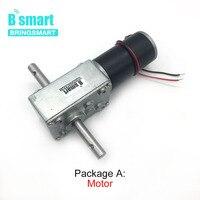 Bringsmart 5840 31zy Double Shaft Motor 24V DC Worm Geared Motor 4V DC Reducer Motors High Torque Reversed Self lock for Robot