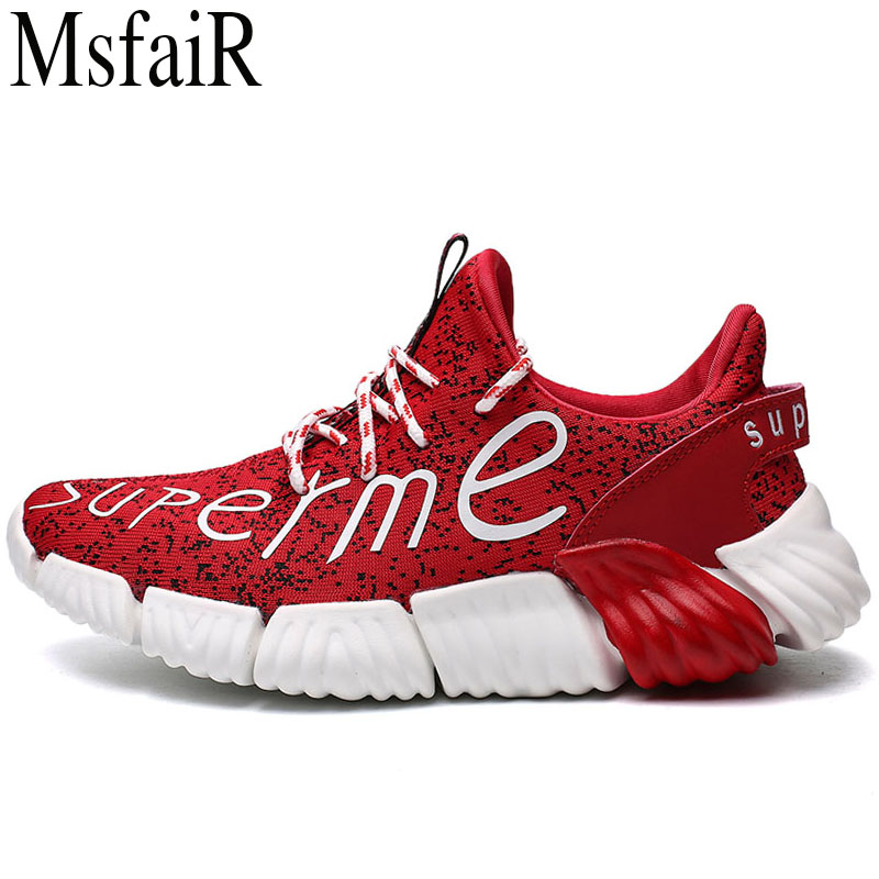 MSFSIR 2018 Mens Running Shoes Fly line of knitting Men Sport Shoes Man Brand Summer Breathable Athletic Walking Male Sneakers
