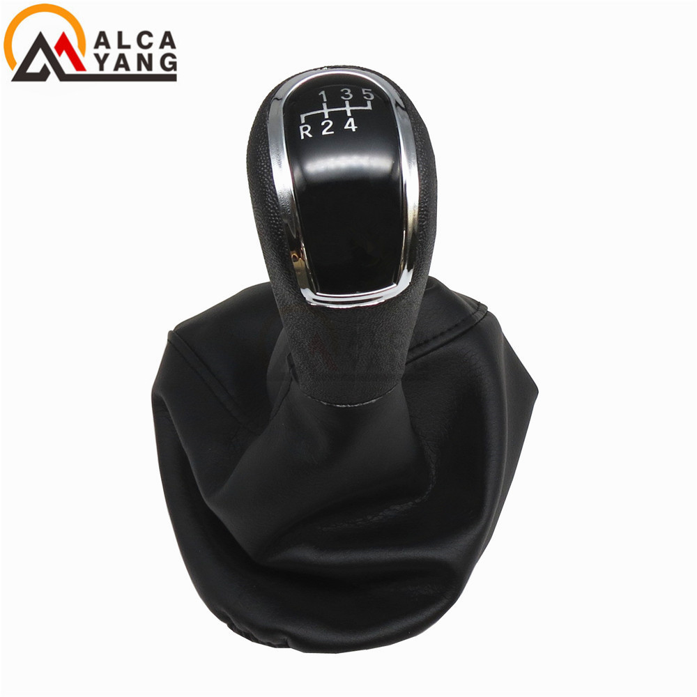 PU Leather 5-Speed MT Manual Transmission Gear Shift Knob + Gator Boot Cover for Mercedes-Benz W202 C-Class BJ 1993-2001