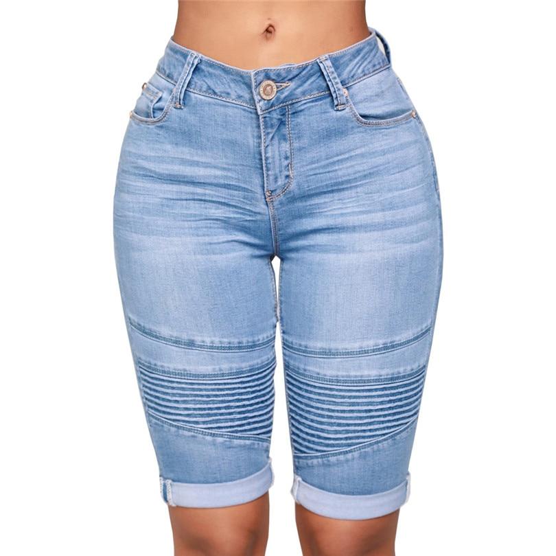 great fit big sale entire collection Mid Rise Elastic Denim Shorts Women Zip Skinny Denim Knee Length ...