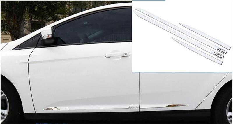 Stainless Steel Side Door Body Molding Lid Cover Trim Fit For Ford focus 2/3 2012 2013 2014 2015 2016 2017 stainless steel side door molding trim cover for 2013 up subaru forester