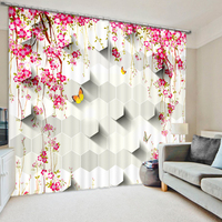 Vitality Abundant Flower 3D Colorful Photo Printing Blackout Curtains For Living Room Baby Girls Kids Bedding