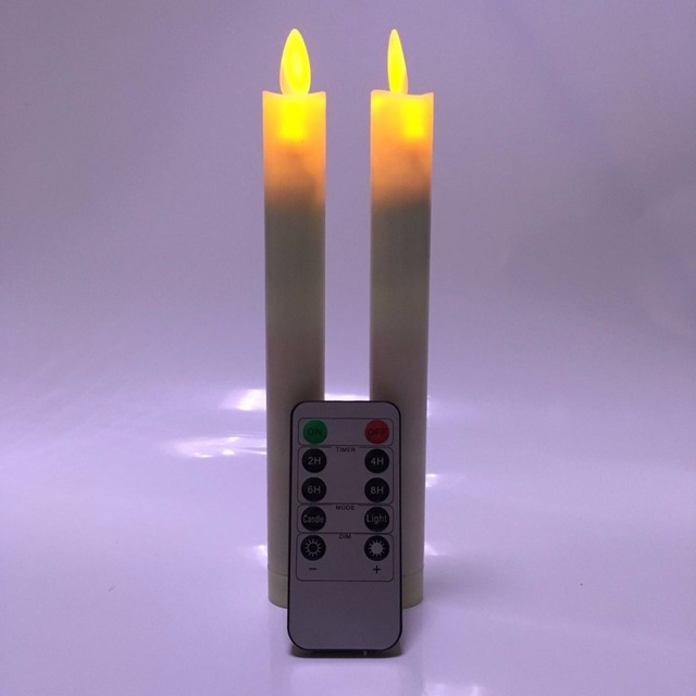 pack of 6 remote and timer yellow dancing battery taper candlesamber flameless led christmas - Led Christmas Candles