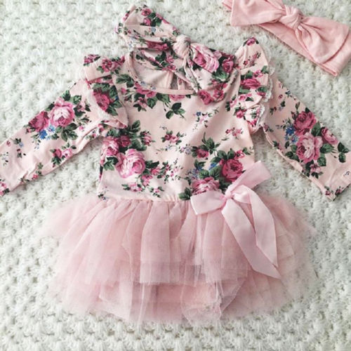 Cute Newborn Toddler Baby Girl Clothes Kids Girls Floral Fly Sleeve Tutu Lace Princess Dress And Headband Outfits Set