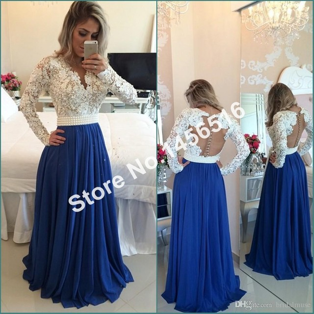 61d26eee92 White Lace Blue Chiffon A line Prom Dress 2017 Long Sleeve Evening Gowns  vestidos de festa Sexy V Neck Formal Dress-in Prom Dresses from Weddings &  ...