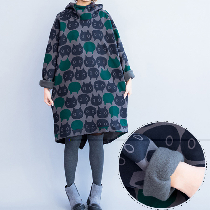 ФОТО Maternity Hoodies Pullover Sweatshirt XXXL Plus Size Pregnant Clothing Outerwear warm Thickened With Velvet Pregnant Women Dress