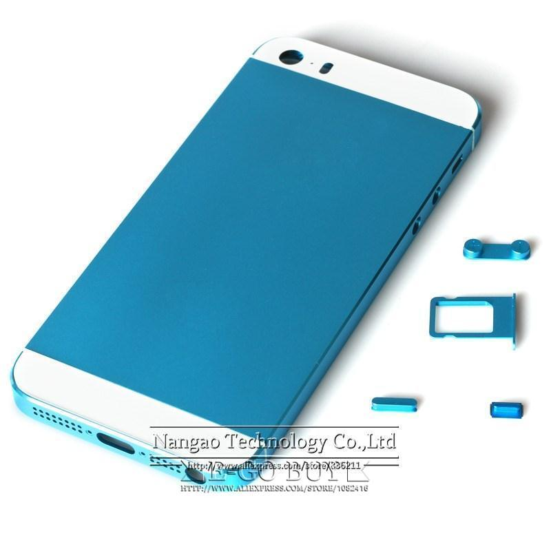 For iPhone 5S Back Housing Replacement Cover Sky blue Color Metal Middle  Frame Plate Bezel Battery Door Parts Free Shipping 0d243760a4